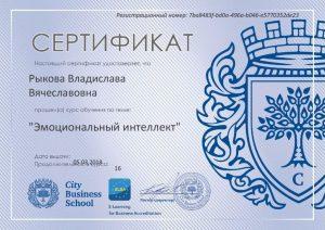 Сертификат по эмоциональному интеллекту, 5.03.2018